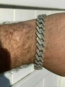 "Men's Prong Miami Cuban Bracelet 8.5"" 12mm Bust Down Diamond Hip Hop Bracelet"