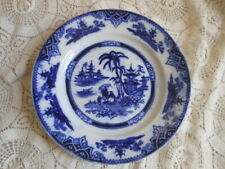 Antique Flow Blue Willow Plate Dish Asian Petrus Regout & Co Maastricht Holland