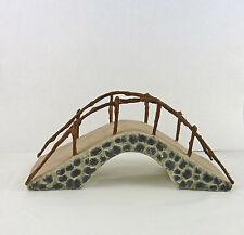 Dollhouse Miniature Fairy Garden Arched Stone Bridge w/ Metal Rail