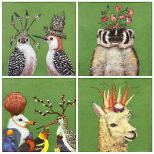 4x Single Paper Napkins -Garden Animals- for Party, Decoupage -mix-