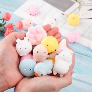 10Pcs Mini Spongy Squishy Mochi Fidget Toys Kawaii Cartoon Soft Cute Fun Sensory