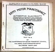 ARMY MOTOR MAINTENANCE AUTOMOTIVE ELECTRICITY TEXT NO.4 SEPTEMBER 1940