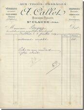 Facture - A Callet marchand tailleur à St-Claude ( jura ) 1916