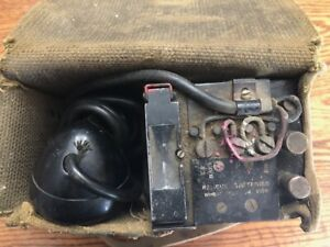 WW2 Era Military Army Radio Field Phone EE-8-B Canvas Case US Signal Corps WWII