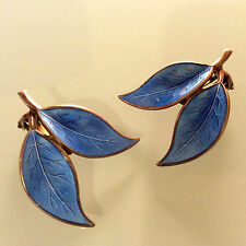 Vintage DAVID ANDERSEN Norway Sterling EARRINGS Large Blue Leaf Enamel Guilloche