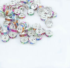100pc  8mm Mixed Color Silver Plated CZ Crystal Rhinestone Spacer Beads Findings