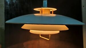 Vintage 1970-80s. Aluminum  Scandinavian suspension Ceiling Lamp light Staks