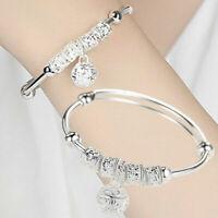 Women 925 Sterling Silver Beaded Bracelet Ladies Bangle Charm Jewellery Gift
