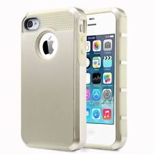 For Apple iPhone  4 4S 4G Shockproof Rubber Matte Dual Layer Hybrid Hard Case