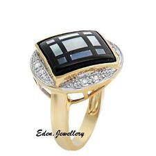 US$1290 Gorgeous Ring Genuine Diamonds Mother of Pearl Onyx Solid Gold 80% OFF