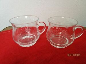 2 Glasses, Tumblers With Polish Or Etching Decor, Probably Crystal Glass / S72