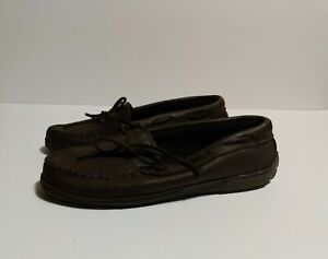 Minnetonka Moccasin Shoes 9.5 Woman Leather Dark Brown Lounge House Shoes