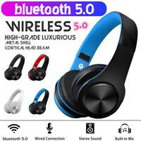 Faltbar bluetooth 5.0 Kopfhörer Wireless Headset Stereo Mikrofon für PC Handy