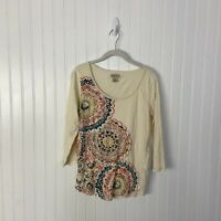 Lucky Brand Top Medium Multicolor Floral Boho Colorful Casual 3/4 Sleeve Spring