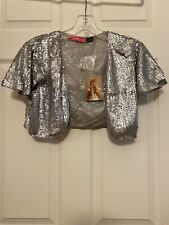 Betsey Johnson Silver Sequin Shrug Top Blouse NWT L Large