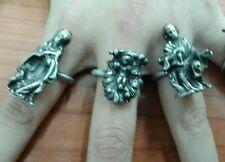 3 anelli regolabili con nativita' 3cm pastori maria gesu religioso presepe crib