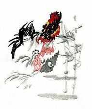 Embroidered Flour Sack Towel:  ASIAN/ORIENTAL ROOSTER AND BAMBOO