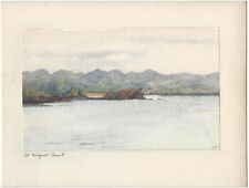 More details for azores view on st miguel coast - original watercolour painting on card c1909