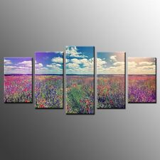 FRAMED Canvas Wall Art Room Decor Colorful Flower Garden Photo Canvas Print-5pcs