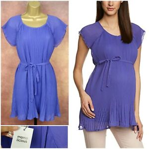BNWT Mama Licious *Mlizabelle* Violet Pleat Belt Maternity Blouse Top Size M NEW