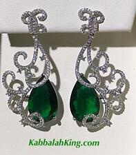 Platinum Sterling Silver Green White Sapphire Pear Red Carpet Chandelier Earring