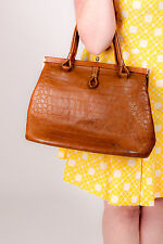 large vintage brown tan leather croc effect kelly tote bag 60s 70s MOD Scooter