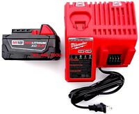 1 New 18V Milwaukee 48-11-1850 5.0 AH Battery, 1) Charger 48-59-1812 M18 18 Volt