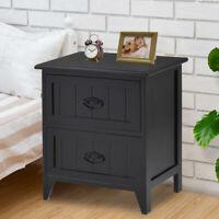 2 Drawers Nightstand Storage Wood End Table Bedroom Side Bedside Black