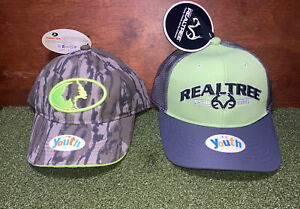 MOSSY OAK Youth Camo Hat & REALTREE Youth Lime Green/Graphite - Both Adjustable