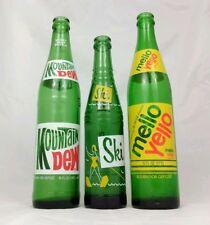 Three Vintage Soda Pop Bottles Ski Mountain Dew Mello Yello Advertising Glass