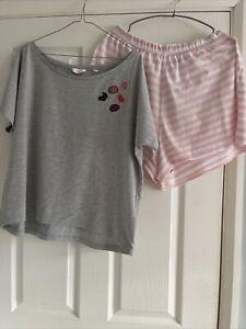 Pretty Secrets Summer Pyjamas , Shorts & T-shirt , Size 16/18, Grey Marl , Pink
