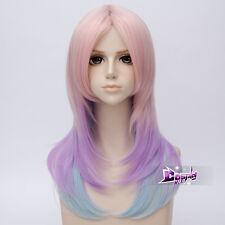 24'' Pink &Purple & Blue Long Wavy Women Lolita Party Cosplay Wig Heat Resistant