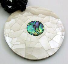"Handmade 2"" Paua Abalone Shell Mother of Pearl Beads necklace 18"" length : DA355"