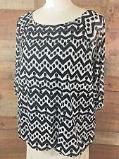 CHICOS-Size 3 Women XL/1X Black/White Short-Sleeve Nylon+ Blouson-Top Shirt NWOT