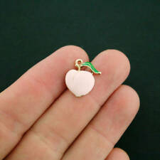 4 Peach Charms Gold Plated Enamel Fun and Colorful - E426 NEW3