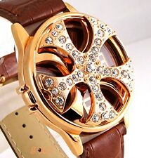 Gents Ladies Unisex Brown Leather Rapper Gold Spin Ice Pimp Bling Crystal Watch