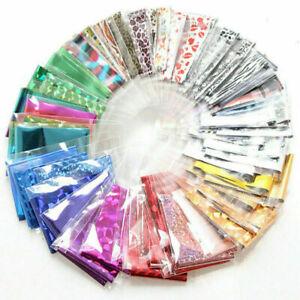 50 x Nail Foils - Mixed Nail Art Transfer Foil Wraps Decal Glitter Stickers