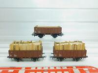 BM137-0,5# 3x Kleinbahn H0/DC Hochbordwagen mit Holz-Ladegut 5081003-3 ÖBB