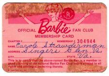 Official Barbie Fan Club Membership Card - 1963
