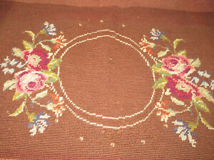 Vintage Needlepoint Cover Finished Vintage Wool Floral Needlepoint Bench Stool