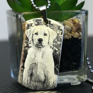 Personalised Photo Dog Tag  Picture Text Poem Necklace Pendant Custom Engraving