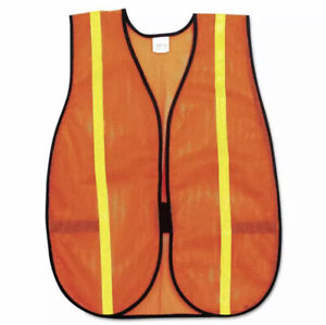 MCR Safety Polyester V211RXL Mesh Safety Vest, 3/4 in. Lime Green Strip One Size