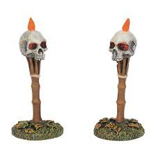 Lit Nightmares Skull Tiki Torches Figurine Dept 56 Halloween Village Accessory