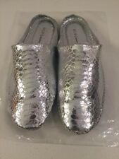 BCBGeneration BCBG Size 7M Xylo Silver Leather Slides New Womens Shoes