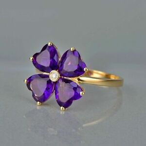 6 Ct Heart Cut Amethyst Lovely Snowflake Engagement Ring 14K Yellow Gold Finish