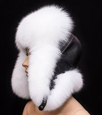 Pure White Arctic Fox Fur & Black Leather Handmade Aviator Trapper Winter Hat