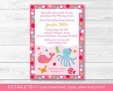 Pink Under the Sea Printable Baby Shower Invitation Editable PDF