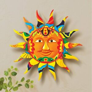 Vera Bradley Themed Colorful Smiling Sun Garden Hanging Metal Wall Art