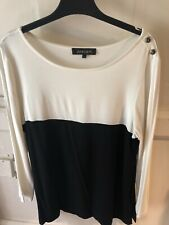 Jaeger Cream Black Colour Block Top with Button Detailing to Shoulder - Small