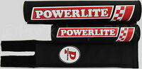 NEW Powerlite old school BMX bicycle padset pads 1978-83 logos MADE IN USA BLACK